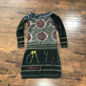 Desigual Bodycon Fitted Off Shoulder Dress Tunic